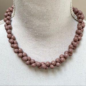 Vintage cluster mauve plastic necklace